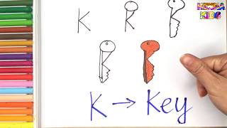 How To Draw and Color a Key Easy Steps By Step ✅How To Teach Baby To Speak English
