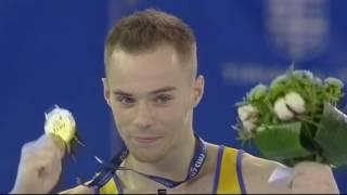 ЧЕ-2017, спортивная гимнастика. Олег Верняев, награждение, золото на брусьях. 23/04/2017