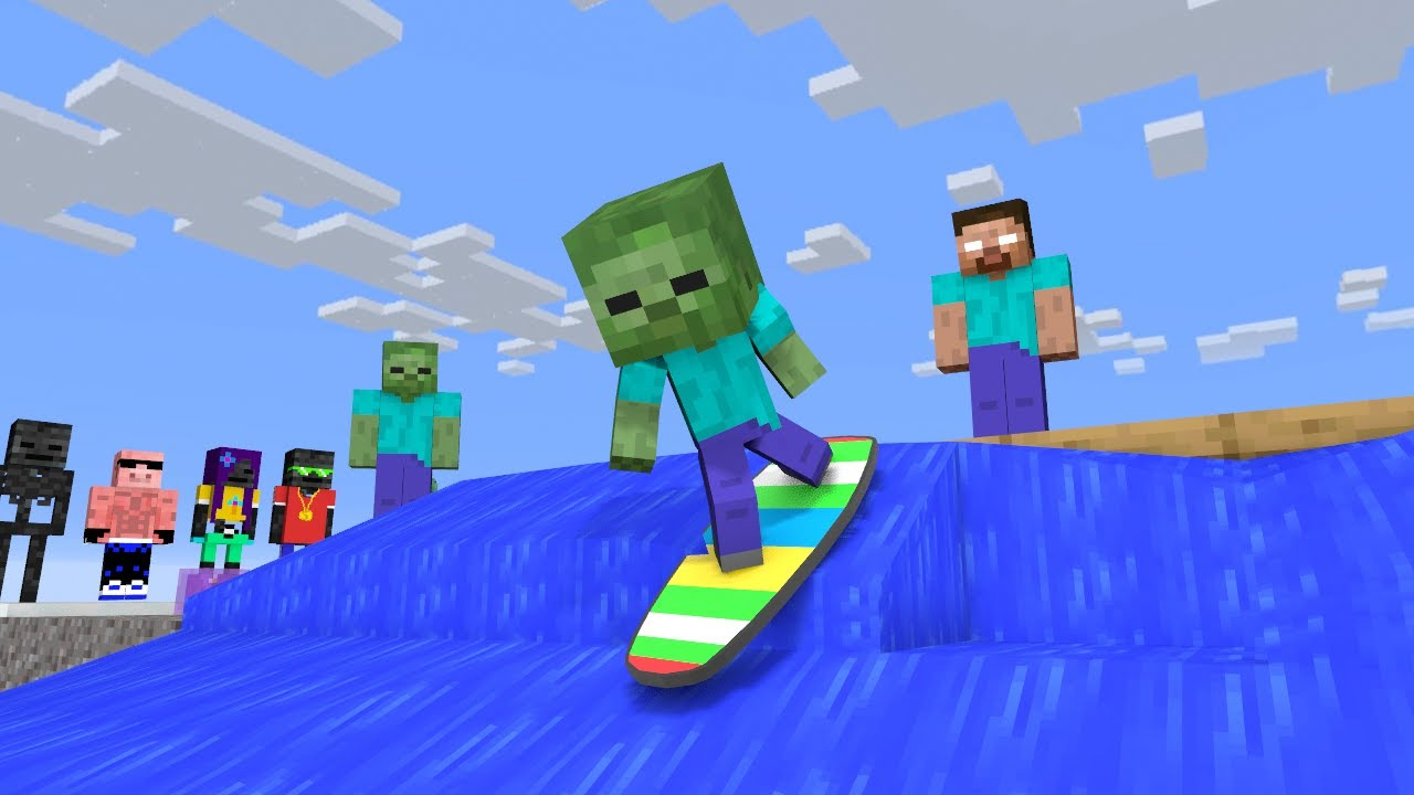 Monster School : FUNNIEST SURFING - Minecraft Animation