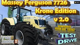 Massey Ferguson 7726 Krone Edition v 2.0 Farming Simulator 2015 mods – Power 255 hp – Krone Skin – Light – Mirrors – Speedometer and tachometer – Opened the door, rear window and sunroof – IC Control – Dust from the wheels – Traces of wheels – Dirt / wash