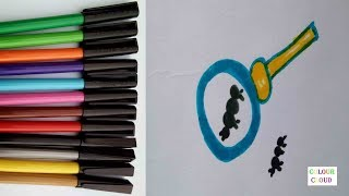 how to draw and colouring micro scope convex lens with little ant