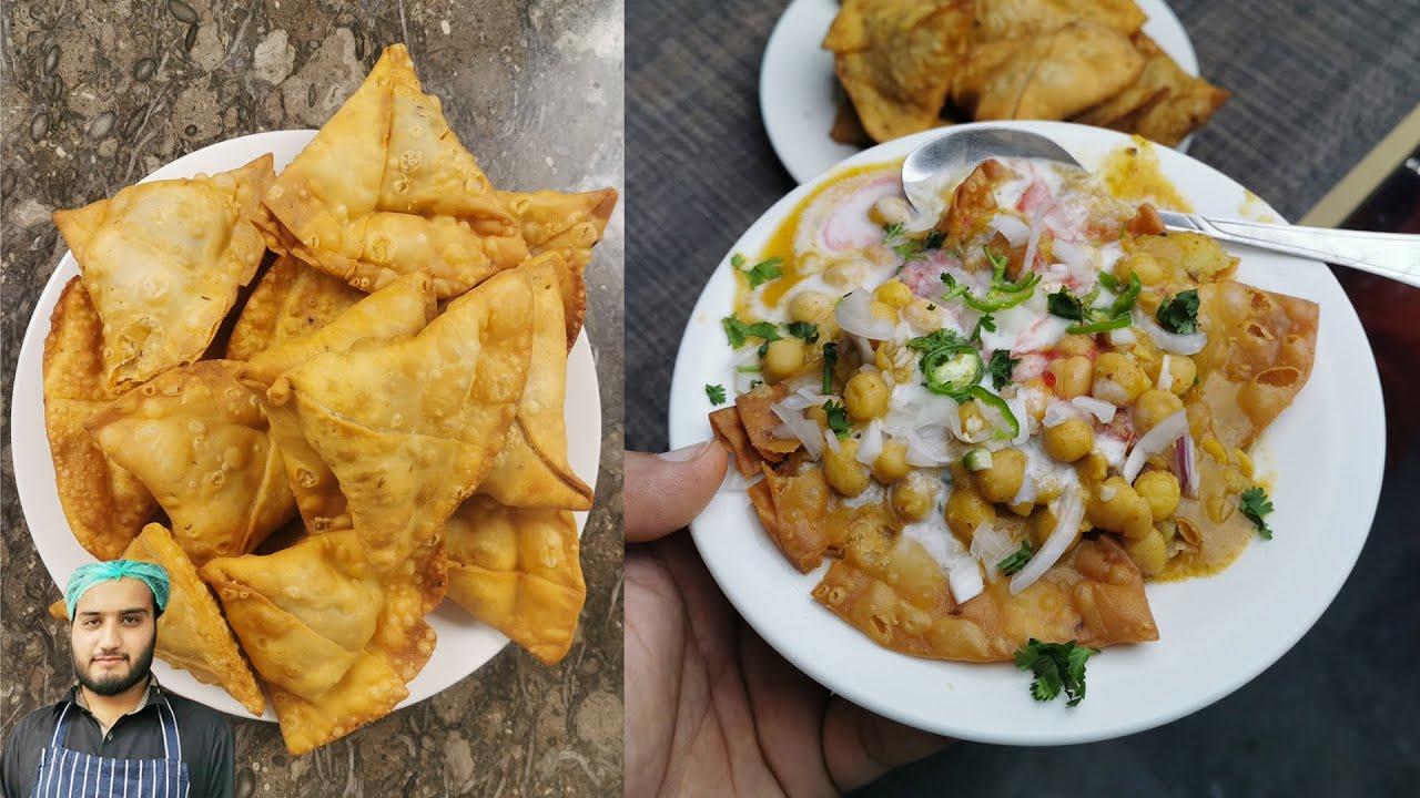 Aloo Samosa Chaat Recipe || Samosay, Chanay Gravy, Red Meethi Chutney