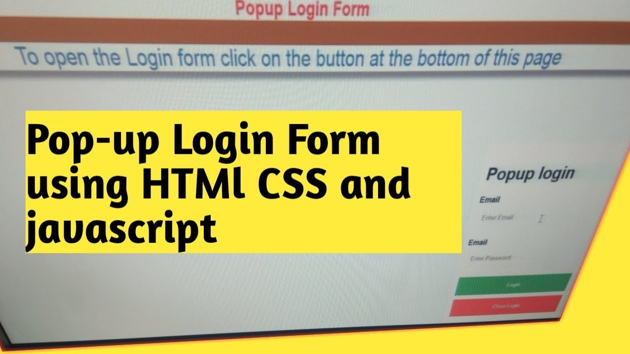 Popup Login Form using Css and javascript