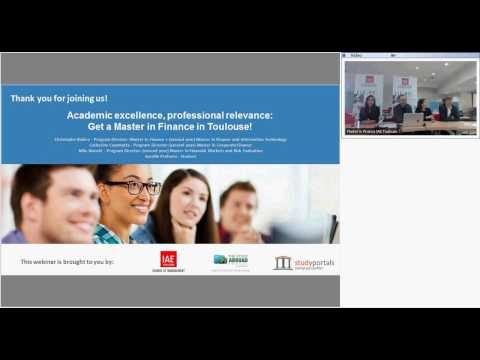 Webinar - Get a Master in Finance in Toulouse ! - Academic excellence, professional relevance