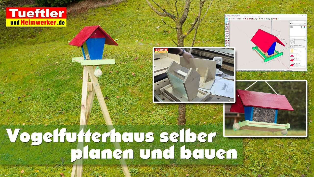 diy vogelfutterhaus selber bauen inkl dreibein st nder. Black Bedroom Furniture Sets. Home Design Ideas