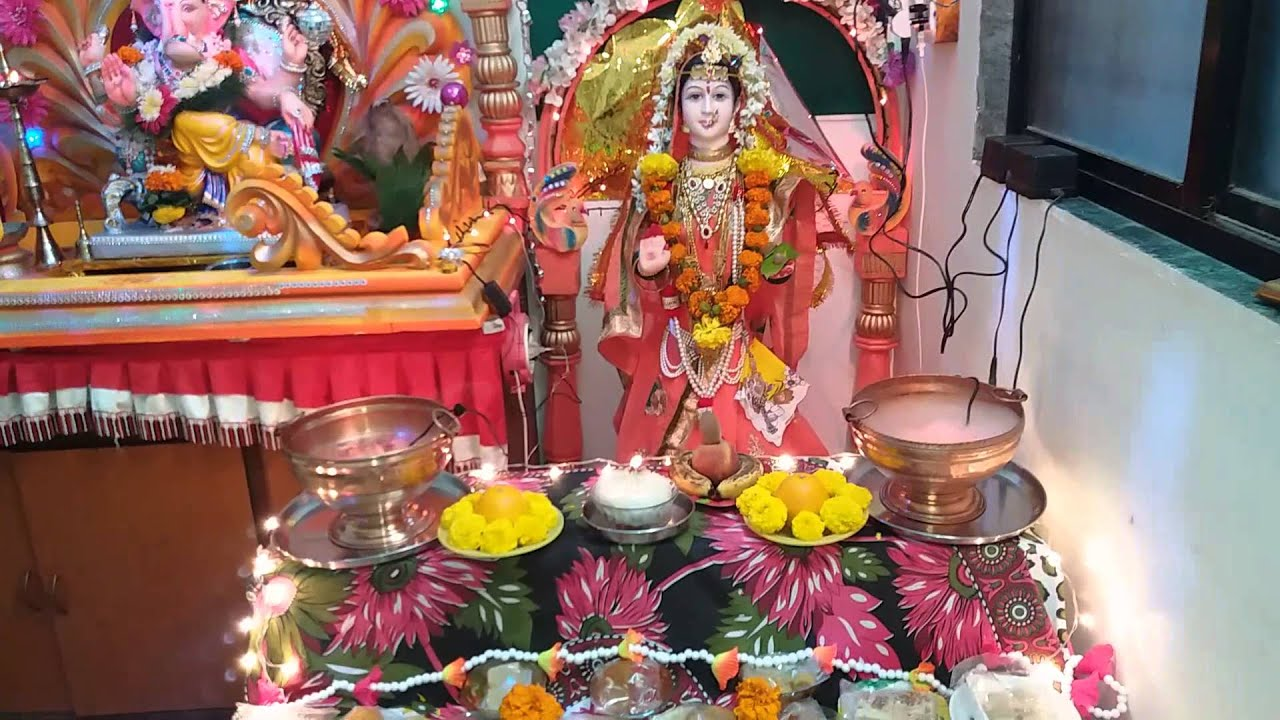 Gauri ganpati home decoration youtube Home decoration tips in marathi