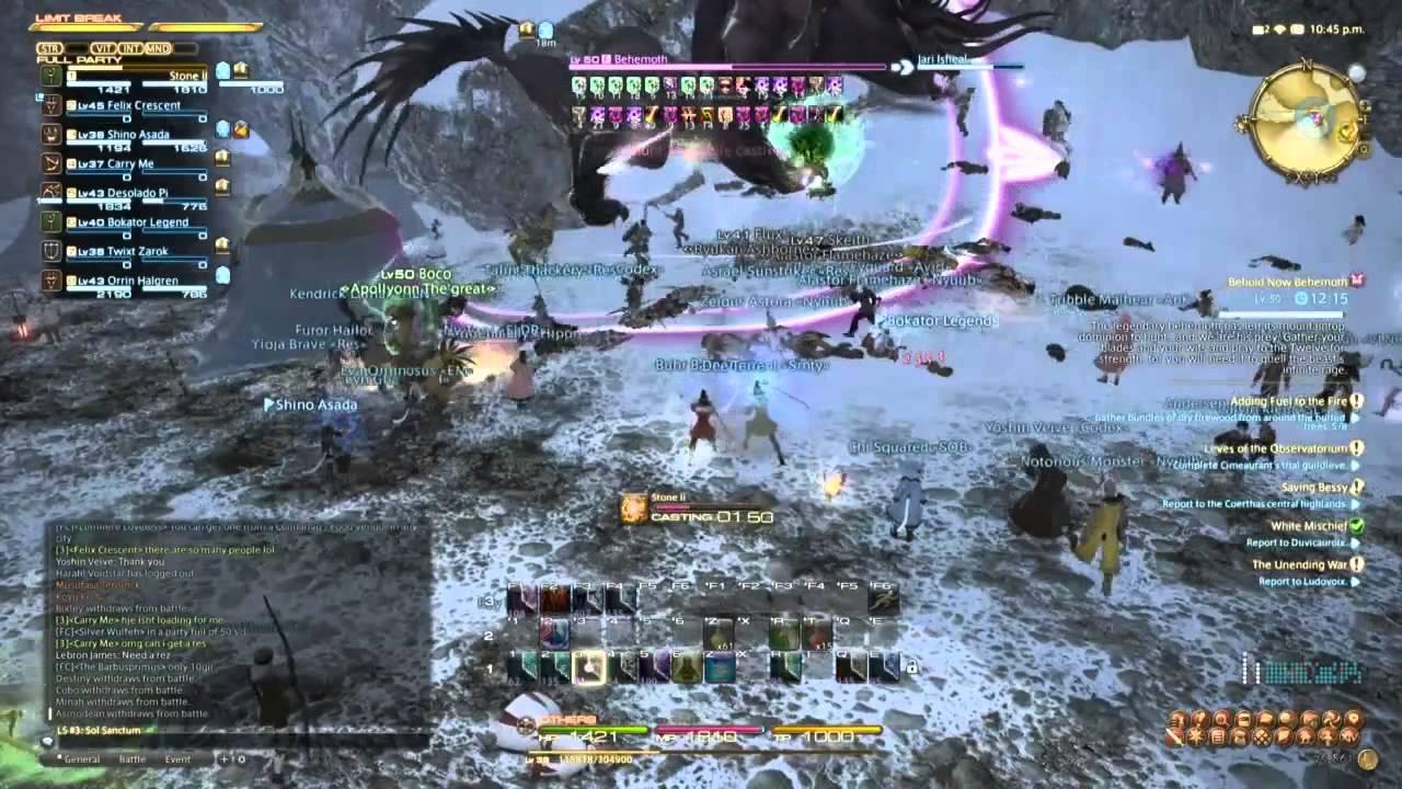 Final Fantasy Xiv Arr Level Fate Killing Behemoth On Youtube Jpg 1280x720 Ffxiv