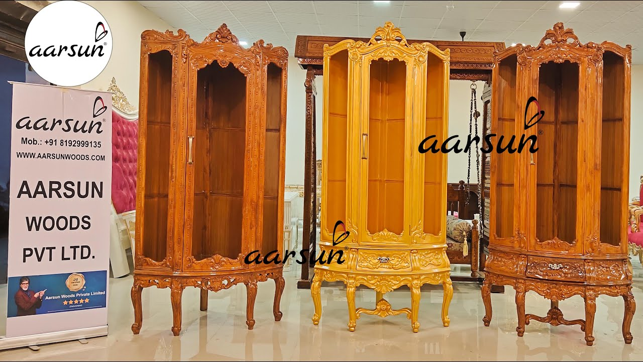 #272 Beautiful Showcases | Hand Carved Display Units in Teak & Gold Finish @Aarsun - Art of India