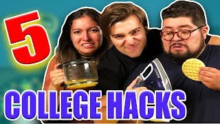 5 Crazy College Hacks THAT WORK!! w/ Labib Yasir and REACT CAST