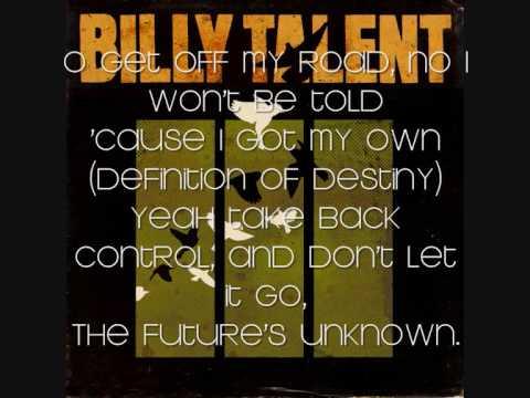 Billy Talent - Definition of Destiny with lyrics