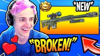 NINJA REACTS TO THE *NEW HEAVY* SNIPER RIFLE! OVERPOWERED Fortnite FUNNY  SAVAGE Moments