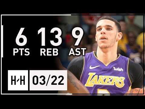 Download Youtube: Lonzo Ball Full Highlights Lakers vs Pelicans (2018.03.22) - 6 Pts, 13 Reb, 9 Assists