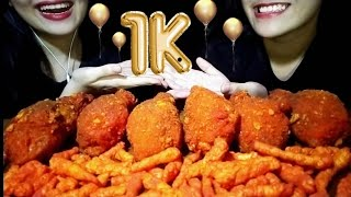 MUKBANG ASMR | HOT CHEETOS FRIED CHICKEN | CELEBRATING 1000 SUBSCRIBERS🎉