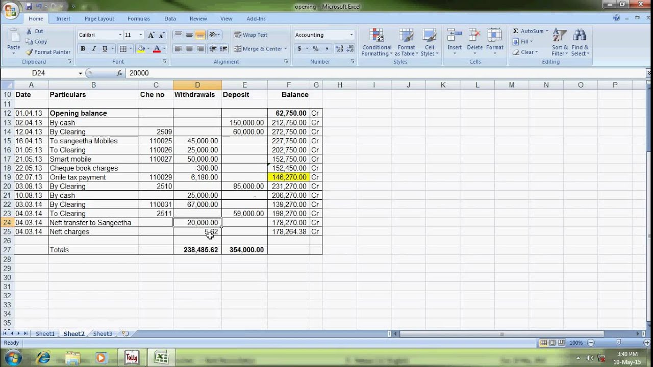 bank reconciliation statement in tally erp9 YouTube – Bank Account Reconciliation Template