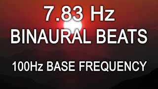 7.83Hz Schumann Earth Resonance 8 Hours Theta Binaural Beats 100Hz Base Frequency