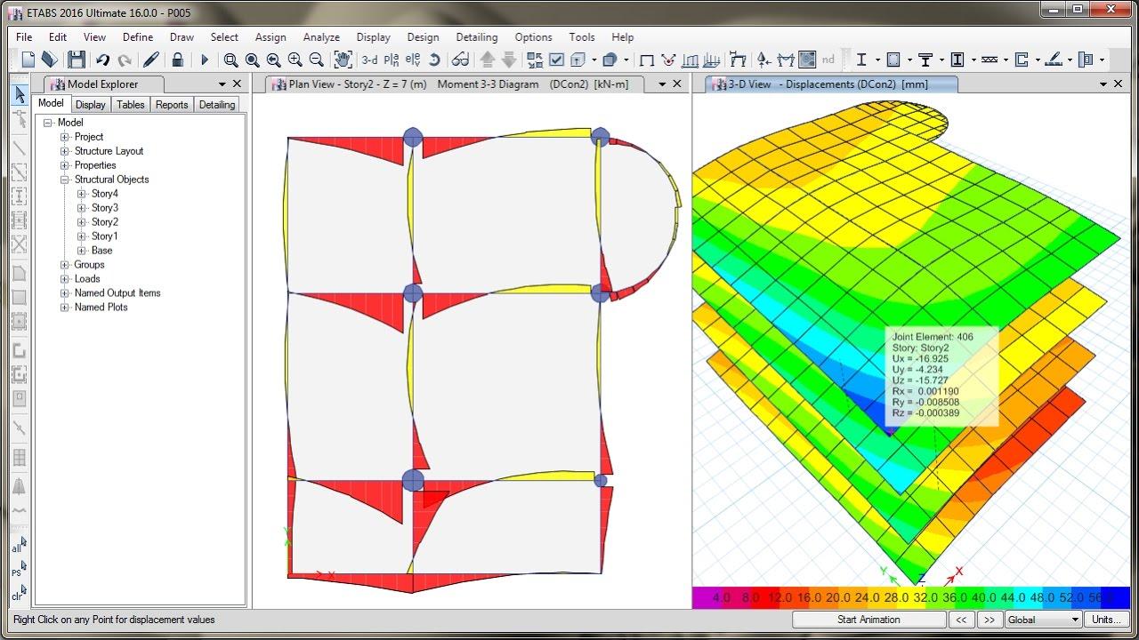 ETABS 2016 Design of Reinforced Concrete Frame (Column & Beam) - YouTube
