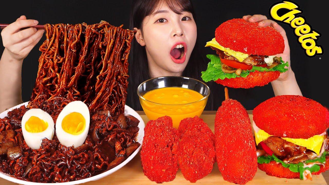 ASMR MUKBANG| 직접 만든 짜짜로니 & 치토스 양념치킨 핫도그 햄버거 먹방 & 레시피 FRIED CHICKEN AND HOT DOG EATING