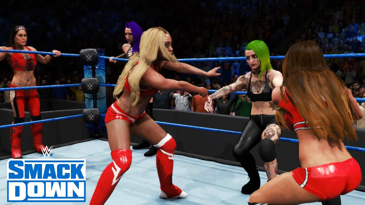 WWE 2K20 SMACKDOWN THE RIOTT SQUAD,MIA YIM & ASUKA VS TEAM BELLA & GIGI