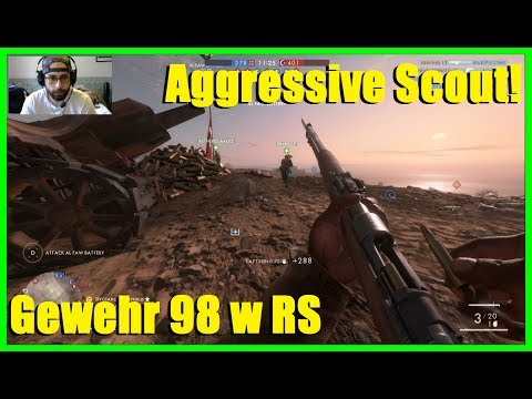 Battlefield 1 - Aggressive scout sniper w Gewehr 98 w Radium sights! | tough match ( 50 kills)