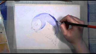 24 Ирина Колобова Урок рисования рыбки  Акварель