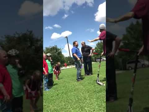 Crazy Old Man Fights  Scooter Kids At Skate Park.