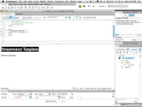 Adobe dreamweaver cs4 basic templates youtube for Basic dreamweaver templates