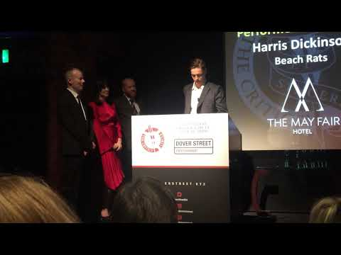 Harris Dickinson winning Best Young Performer at the London Critics awards