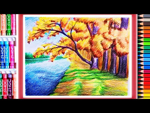 Pencil drawing:A Composition on Landscape scenery step by step for beginners #AAKIBUKI