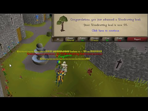 Below RS gets 99 Woodcutting! + Party!