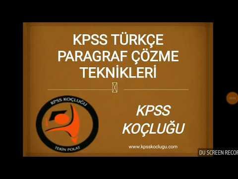 KPSS PARAGRAF ÇÖZME TEKNİKLERİ - KPSS KOÇLUĞU