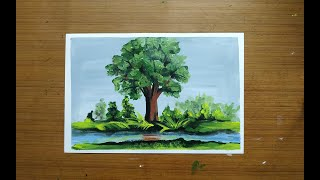 How to paint a Tree easily | Landscape Acrylic Painting Art Lesson