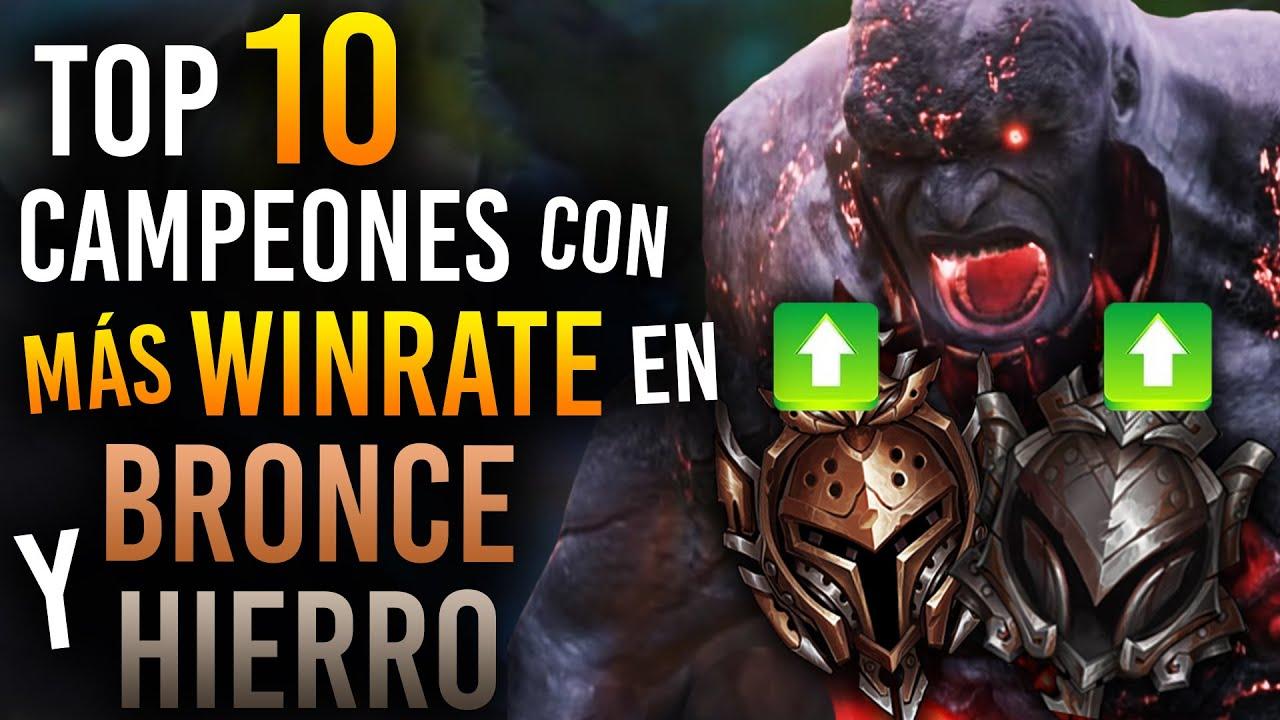 ¡TOP 10 Campeones con MÁS WINRATE en BRONCE y HIERRO! | Guía LOL S10