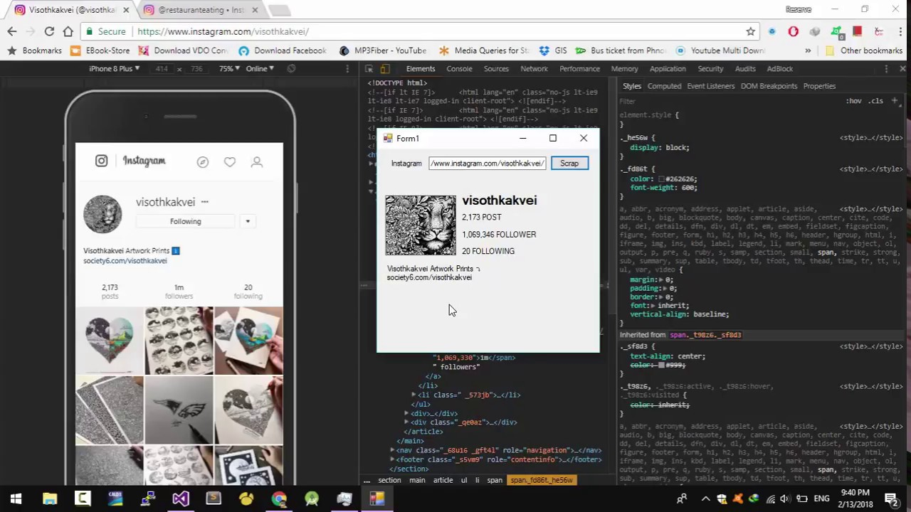 Scraping Instagram Profile without Graph API by C# programming Demo