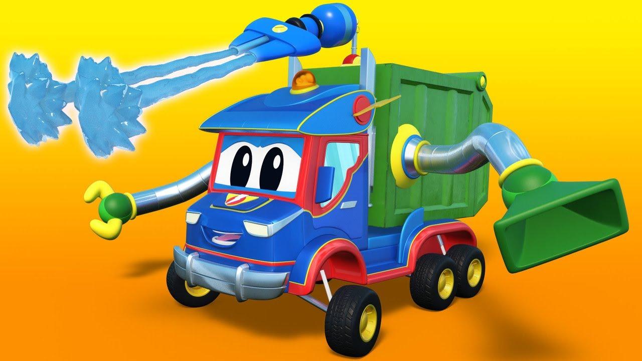 !شاحنة القمامة الخارقة للإنقاذ الشاحنة الخارقة - إنقاذ - رسوم متحركة للشاحنات للأطفال