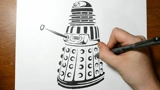Drawing a Dalek from Dr Who - Tribal Tattoo Design Style