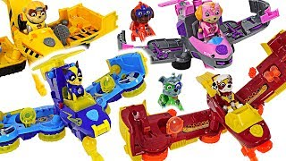 Dinosaurs attack Pororo! Paw Patrol Mighty Pups Flip & Fly 2-in-1 Transforming Vehicle! #DuDuPopTOY