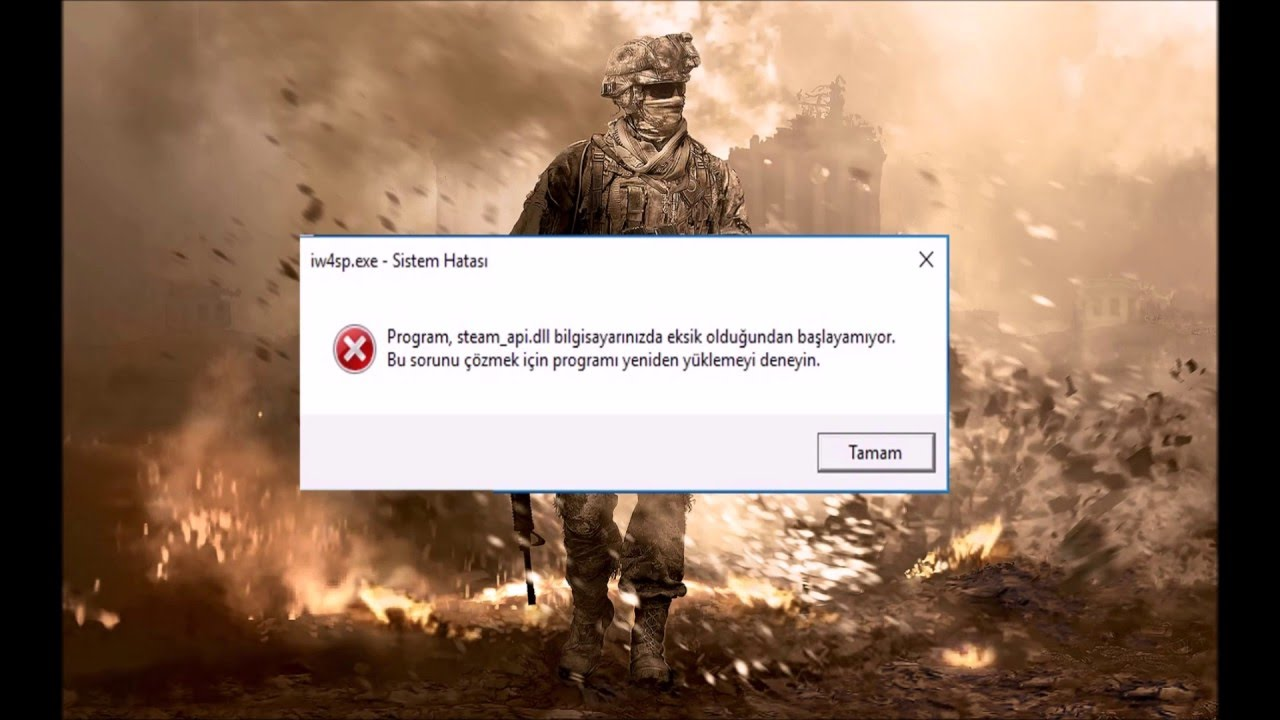 Call of Duty Modern Warfare 2 steam_api dll hatası (problem) COD MW2