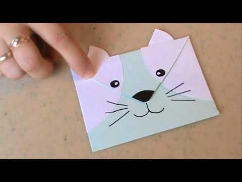 Как из бумаги сделать открытку кота