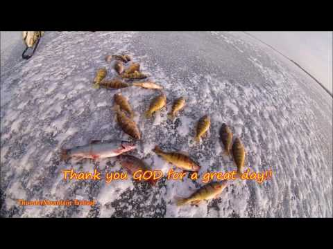 Ice Fishing Perch/Trout & how we cook Pan fish fast and ...