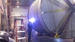 Tig welding cooling jacket onto beer tank