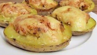 leckere Ofenkartoffeln  mit  Hackfleisch gefüllt
