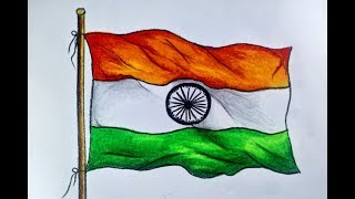 How to draw national flag of india step by step with oil pastel color (very easy)