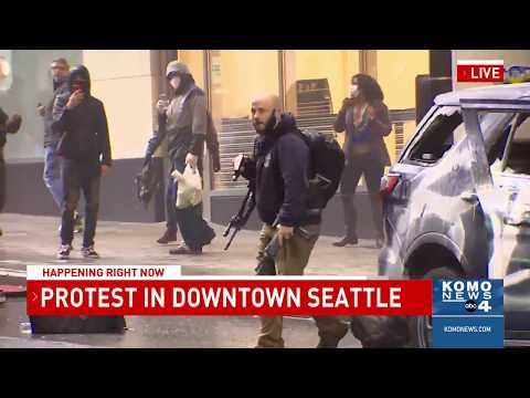 Security Guard Secures Rifle Stolen By Protester In Downtown Seattle Youtube