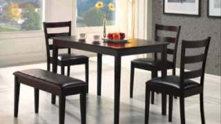 5pc Dining Table Chairs & Bench Set Cappuccino Finish