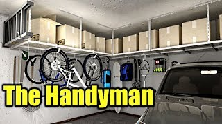 How To Install Garage Storage Racks that hang from ceiling | THE HANDYMAN |