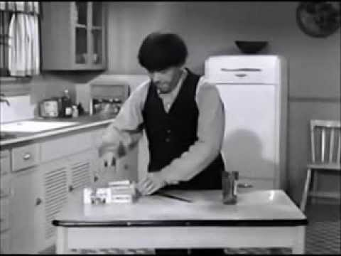 Moe Howard making a sandwich and drinking a 40oz