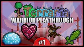 Let's Play Terraria 1.2.4 || Warrior Class Playthrough || Hearts, Armour & Cactus Tools [episode 1]
