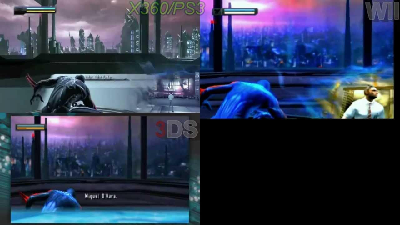 Spiderman Edge Of Time WII VS 3DS Vs Xbox 360 Vs PS3 Vs