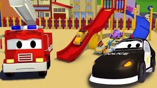 La Super Patrulla: camión de bomberos y patrulla de policía en el accidente de la resbaladera