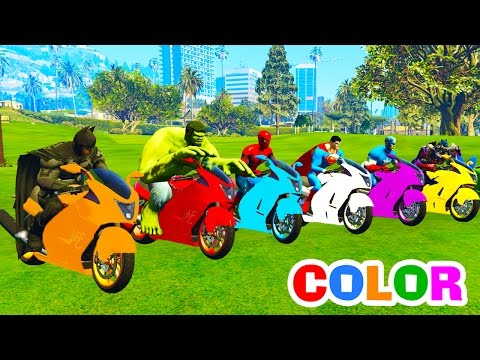 Thumbnail: Learn Colors Morotbike on Cars w 3D Superheroes Spiderman for Cartoon Color Bus on Truck for Kids